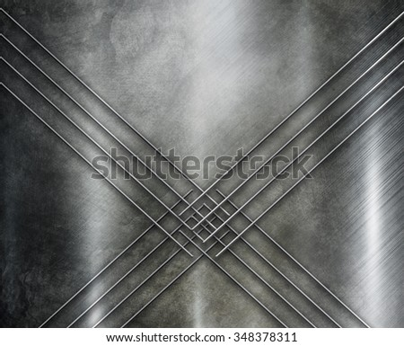 Silver metal texture with lines - stock photo