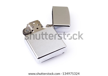 Silver metal zippo lighter isolated on white