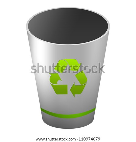 Silver Metallic Style Recycle Bin With Green Recycle Sign For Recycle and Conservation Concept Isolate on White Background