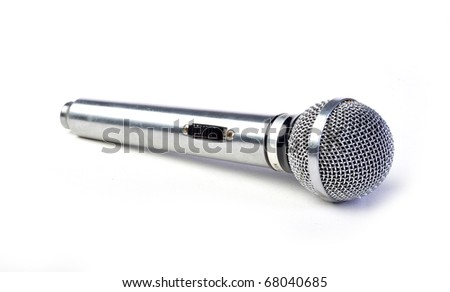 silver mic isolated on white - stock photo