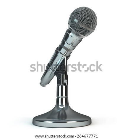 silver microphone - stock photo