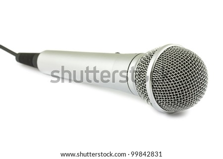 Silver microphone isolated on white background
