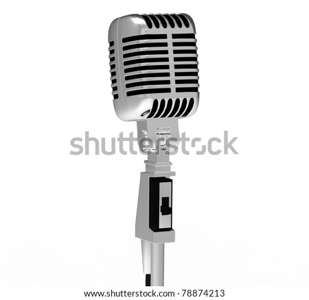 Silver Microphone. Retro style Microphone.