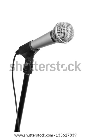 Silver microphone with black wire isolated on white