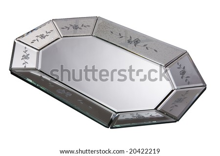 silver mirror tray (lot) - stock photo