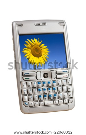 Silver mobile phone with a colorful picture on the display isolated on white. - stock photo
