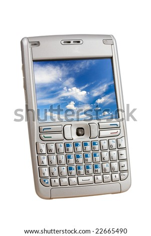 Silver mobile phone with a colorful picture on the display  isolated on white. Two clipping paths are included for easy extraction, one for the phoen, one for the display. - stock photo