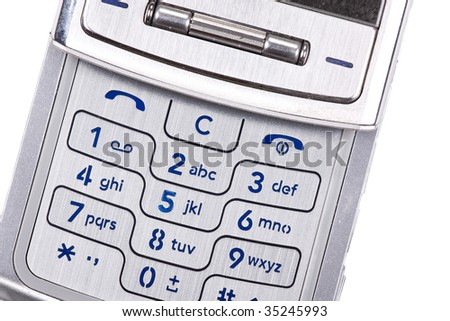 silver mobilephone on white background - stock photo