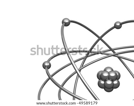 Silver model of the atom with central kernel surrounded electrons. There is a clipping path - stock photo
