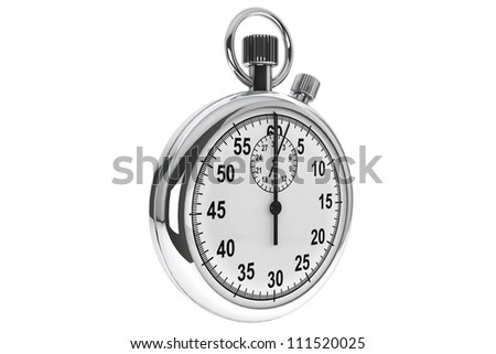 Silver modern Stopwatch on a white background