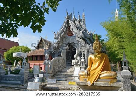 Silver monastery in Wat Thai, Chiang mai Thailand - stock photo