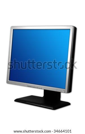 silver monitor - stock photo