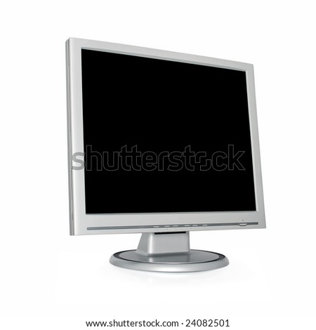 silver monitor with blank black screen isolated on white background, clipping path included