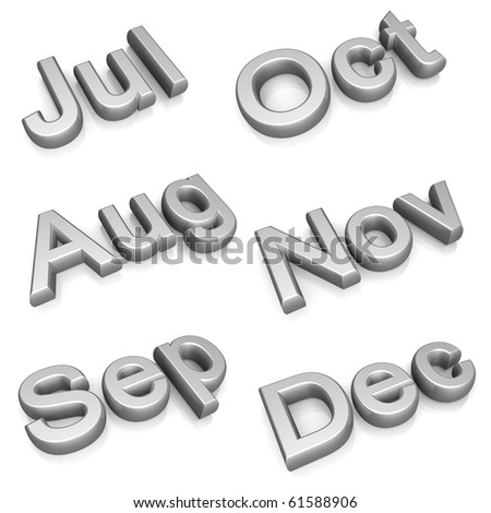 Silver month set two July to December 3d illustration