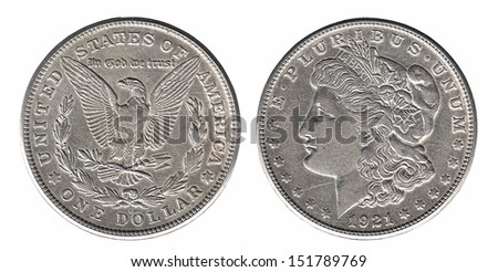 Silver Morgan dollar front and back side isolated on white - stock photo