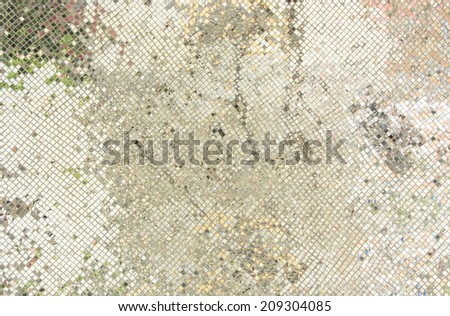 Silver mosaic background ,Ancient traditional Thai style wall decorated with colorful glass and mosaic in a public temple in Thailand.  - stock photo