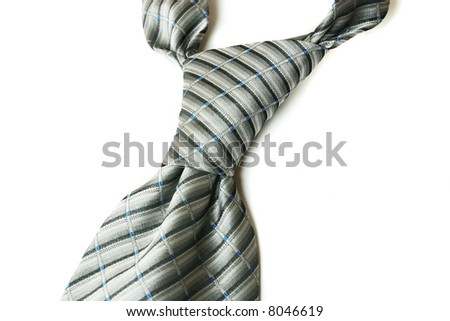 Silver neck tie isolated on the white background