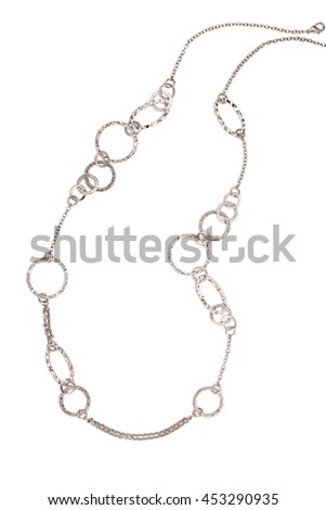 silver necklace with shadow on white background - stock photo