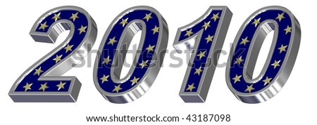 Silver New Year 2010 isolated on the white background. Computer generated 3D photo rendering. - stock photo