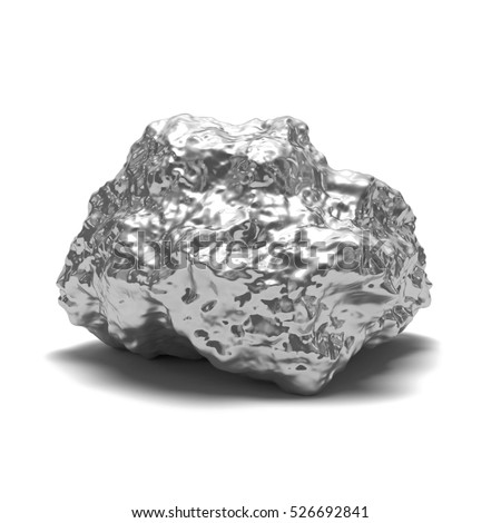 Silver nugget on a white background. 3d render