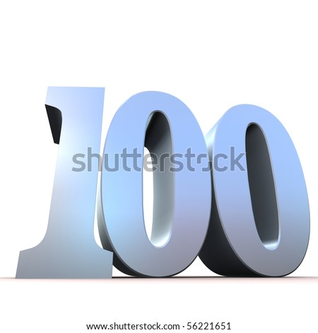 silver number - 100 - stock photo