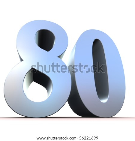 silver number - 80 - stock photo