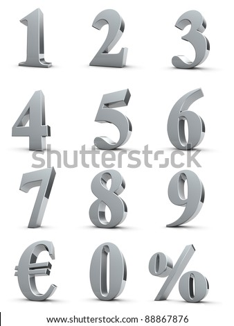 silver numbers with euro and percent symbol - stock photo