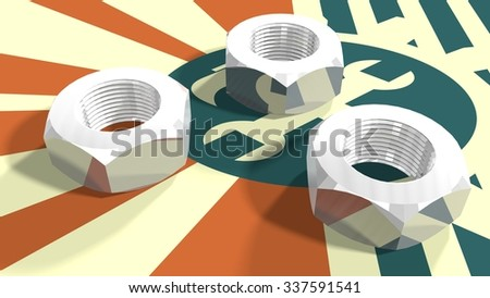 Silver nuts on industry relative painted background. Service and repair relative image