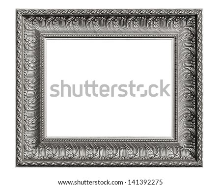 Silver Old Frame, Isolated on White, No 29  (clipping paths included) - stock photo