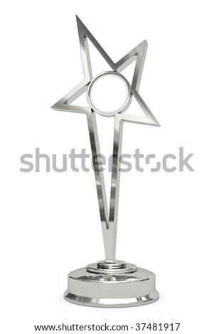 Silver or platinum star prize on pedestal with blank round plate isolated on white. High resolution 3D image - stock photo