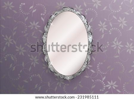 silver ornate vintage mirror - illustration - stock photo
