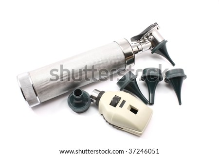 Silver otoscope and opthalmascope with ear attachments