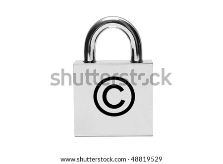 Silver padlock with copyright sign isolated on white - stock photo