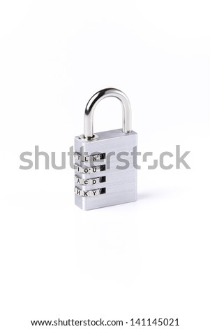 silver Padlock with later code on white background - stock photo