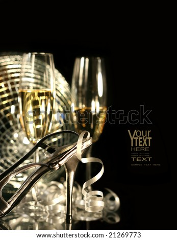 Silver party shoe with glasses of champagne on black - stock photo