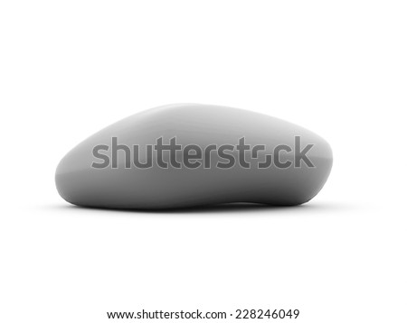 Silver pebbles rendered isolated on white background - stock photo