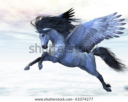SILVER PEGASUS - Pegasus flies high in the air over the clouds. - stock photo