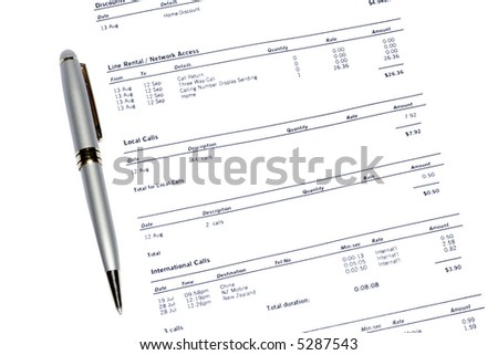 Silver Pen On A Monthly Phone Bill Statement, Business Background - stock photo
