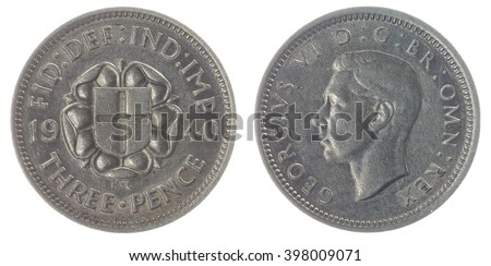 Silver 3 pence 1940 coin isolated on white background, Great Britain  - stock photo
