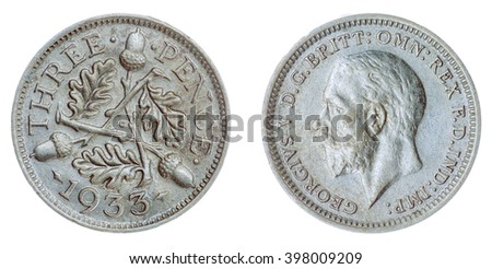Silver 3 pence 1933 coin isolated on white background, Great Britain  - stock photo