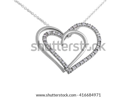 Silver pendant, necklace, hearts with diamonds on white background