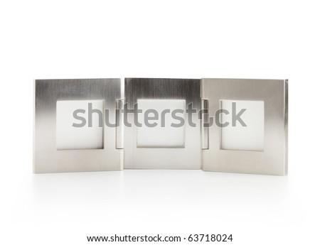 Silver photo frame, isolated on white. - stock photo