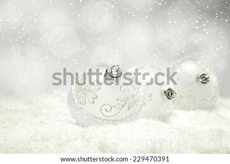 silver photo of xmas decoration three balls  - stock photo