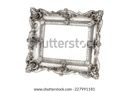 Silver picture frame in perspective over white with clipping path - stock photo