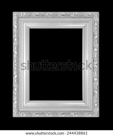silver picture frame Isolated on black background - stock photo