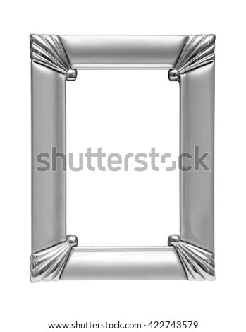 Silver picture frame isolated on white background - stock photo