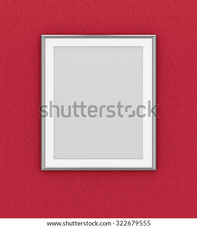 Silver picture frame over dark red wall - stock photo