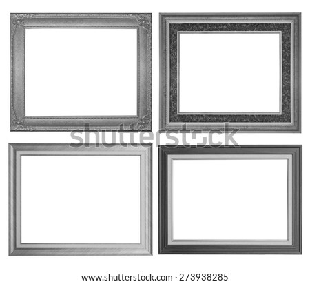 Silver picture frame set isolated on white background.