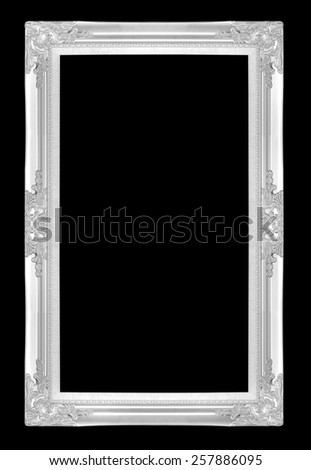 silver picture frames. Isolated on black background - stock photo