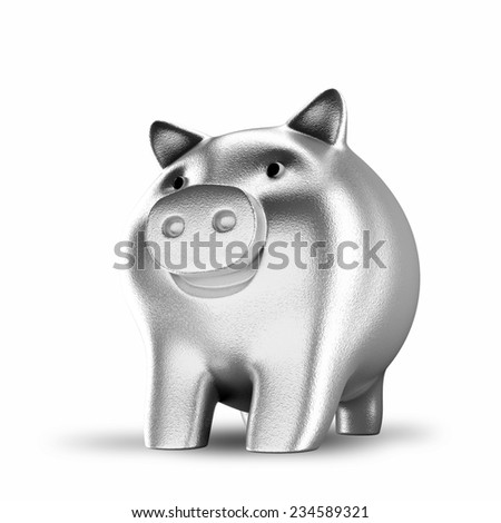 Silver piggy bank isolated over a white background - stock photo